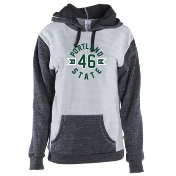 Official NCAA Portland State University Vikings - 19POR03 Unisex Color Block Kangaroo Pocket Pullover Hoodie