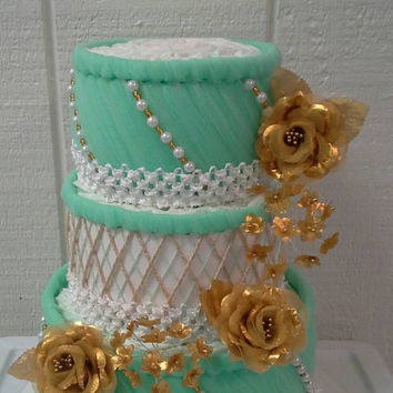 Gold White Mint Green Diaper Cake Themed Baby Shower 3 Tier Diaper Cake Gender Neutral Table Centerpiece New Mom To Be Baby Sprinkle Gift