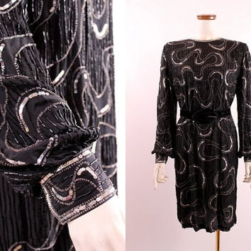 Vintage Silver Black Beaded Sequins Swirl Design Silk Draped Sleeves Trophy Gatsby Flapper - Semi Formal Short Cocktail Party Dress