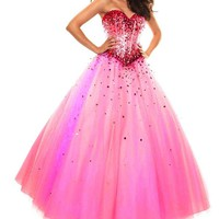 Lacemarry Sweetheart A-line Beading Sequin Tulle Long Prom Dress/ball Gown (12, Fuchsia)