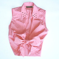 vintage studded collar pink crop top collared spiked blouse with pink bow tie front 1950s Size SMALL