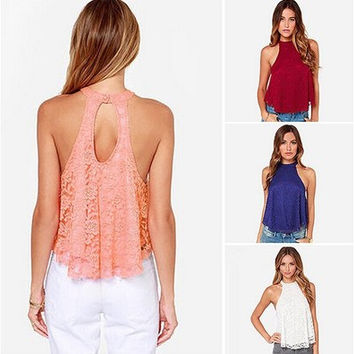 Sleeveless Hollow Lace Halter Vest [6259257092]