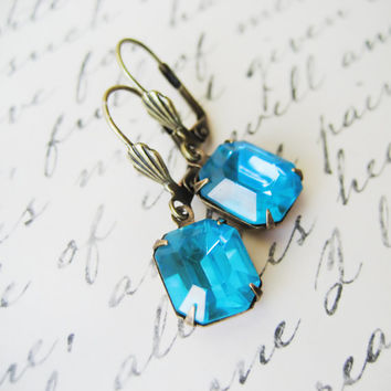 Vintage Rhinestone Earrings // Aquamarine Blue Stones, Estate Style, Drop Earrings, Wedding Accessories, Bridesmaids Jewellery