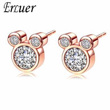 ERLUER Mickey Stud Earring For Women Girls AAA Zircon Crystal Wedding Bridal Fashion Rose Gold Silver Color Earrings Jewelry