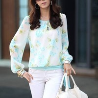 Ladylike Flower Print Scoop Neck Puff Sleeve Chiffon Blouse For Women