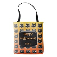 Black Cats Orange Custom Halloween Tote Bag