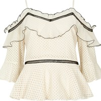 Cream lace frill cold shoulder peplum top - Blouses - Tops - women