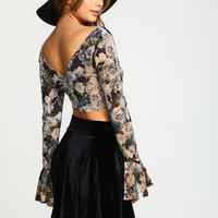 Floral Velvet Wrap Bell Crop Top