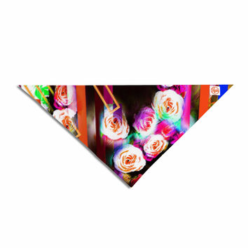 "Dawid Roc ""Colorful Rose-Floral Geometric"" Multicolor Pink Pet Bandana"