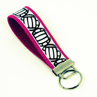 Volleyball Ribbon Key Fob Wristlet - Fuscia, Red, Blue