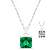 Double Sided Emerald Green and White CZ Pendant Necklace