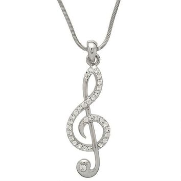 DCCKU3R Large Gemmed Clef Note Necklace