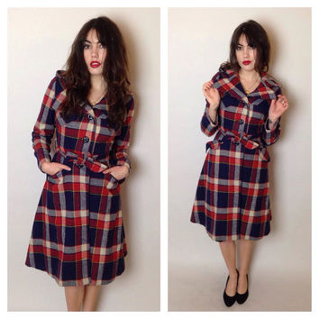 70's WOOL PLAID TRENCH - cozy coat - pockets - hood - belted - white, red and blue - small/medium