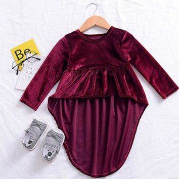 Newborn Kids Baby Girls Retro Party Weeding Dress Princess Asymmetrical Dresses Wine Red Long Sleeve Beach Summer Autumn Dress