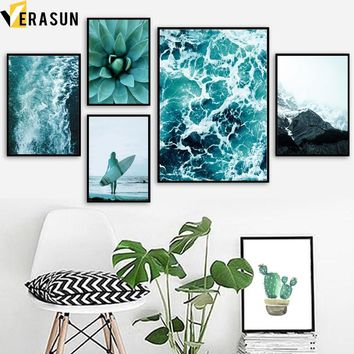 VERASUN Sea Mountain Wall Art Canvas Painting Nordic Poster Cuadros Decoracion Salon Wall Pictures For Living Room Quadro
