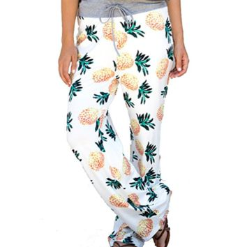 Women High Waist Casual Pants Pineapple Pattern Print Drawstring Wide-Leg Pants
