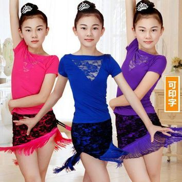 Lace Fringe Dance Skirt Girls Latin Dance Dress Children Dance Leotard Girl Dance Summer T Shirt