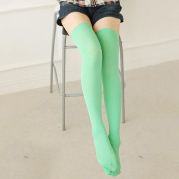 Women's thigh high stockings Girl High the KNEE cotton Multi-Color