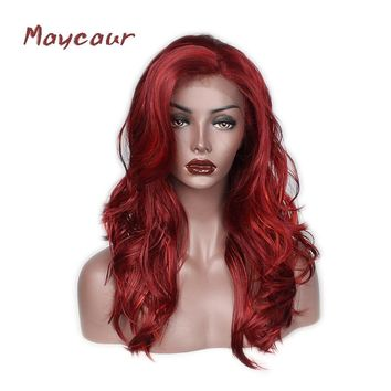 Red Color Body Wave Synthetic Lace Front Wigs Fashion Long Wave Wigs For Black Women