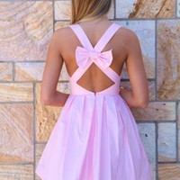 Light Pink Bow Back Sleeveless Dress