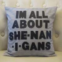 14x14 Shenanigans Pillow Cover w/Grey by blackrufflebrigade
