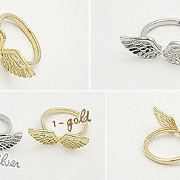3 X 17mm Adjustable Korean Shiny Angel Wing Classic Fashion Gold Silver Ring LS