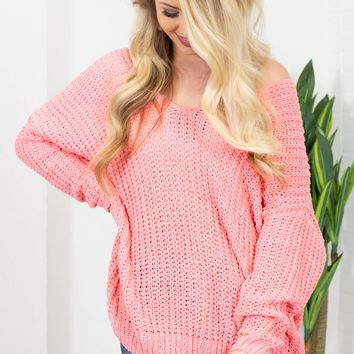 Wonder Love Cable Knit Sweater | Neon pink