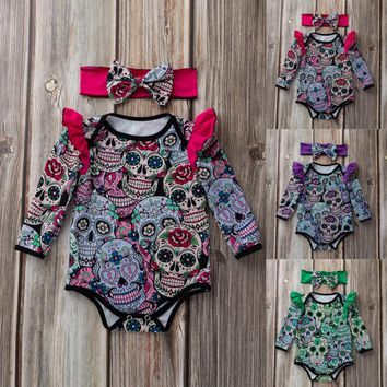 Newborn Baby Girls Clothes Long Clothing Sleeve Halloween Cartoon Skull Pumpkin Romper Jumpsuit Infantil Toddler Babies Costumes