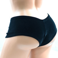 Black Stretch Velvet Lowrise Ultra Cheeky Booty Shorts