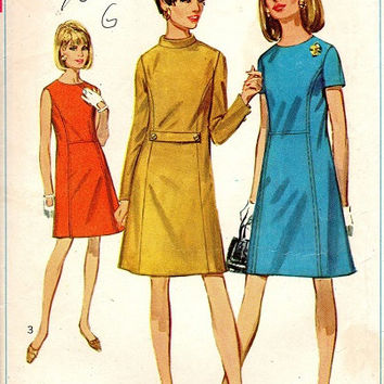 Retro Mod A-line Mini Dress Simplicity 60s Sewing Pattern Casual Long Short Sleeve Band Collar Day Dress Bust 36