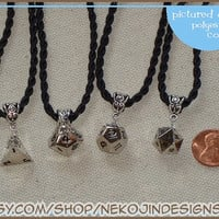 Elegant silver metal polyhedral dice necklace - d4, d10, d12, d20 - gamer gaming geek D&D dungeons and dragons RPG
