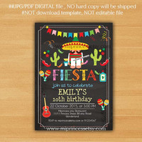 Mexican guy Fiesta Birthday invitation, Fiesta Party Birthday Invitation for any age, Whimsical design Colorful Festive birthday - card 676
