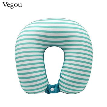 Vegou Microbeads U Shape neck Pillow stripe transfer printing travel pillows massager with button kissen foam body pillow