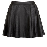 New Look Mobile | Teens Black Leather-Look Skater Skirt