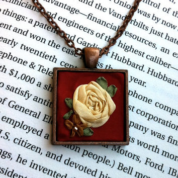 Red Silk Ribbon Embroidered Rose Pendant Copper Necklace - Embroidery by BeanTown Embroidery
