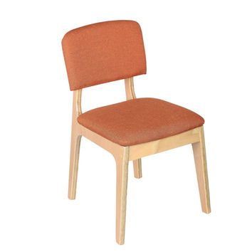 Bentwood Dining Chair Natural with Orange Linen Back & Seat