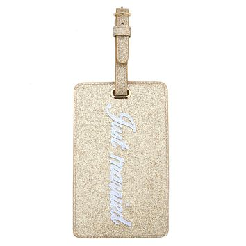 Just Married Luggage Tag (Gold Glitter)