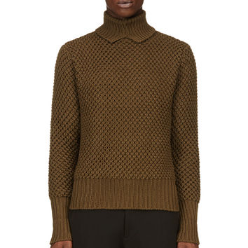Raf Simons- Sterling Ruby Green Thick Knit Turtleneck