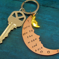Fast Shipping Key Fob Hand Stamped Key ChainI Love You to the Moon and Back Moon Shaped Copper Key Chain with gold Moon accent charm