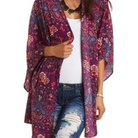 Open Front Paisley and Floral Print Kimono Top - Dark Pink Combo