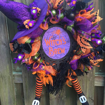 Witch Wreath, Witch Legs Wreath, Halloween Deco Mesh wreath, Halloween Wreath,Witch Halloween Wreath, Witch Deco Mesh, Witch Hat Wreath