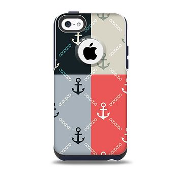 The Vintage Solid Color Anchor Collage All Skin for the iPhone 5c OtterBox Commuter Case
