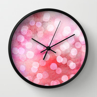 Strawberry Sunday - Pink Abstract Watercolor Dots Wall Clock by Micklyn