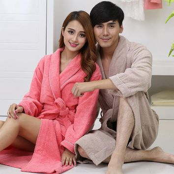 Men Women 100% Cotton Terry Bathrobe lovers Thick Terry Robe Towel Sleepwear  Long Bath Robe f9b39e9c3