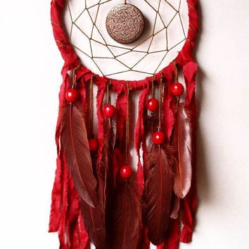 Dream Catcher - Red Maldala - With Round, Circle Amulet and Brown Feathers, Red Frame and Textiles - Home Decor, Mobile