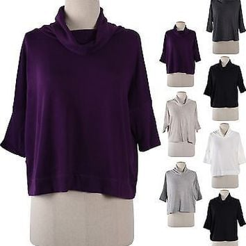 Solid Plain Cowl Neck 3/4 Dolman Sleeve Cropped Knit Sweater Shirt Top