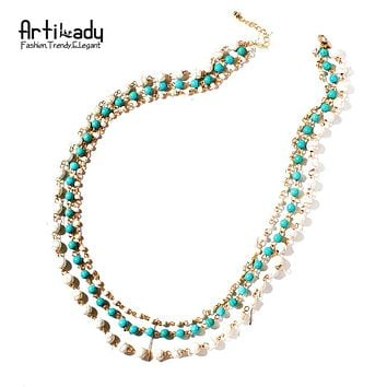 Artilady natural stone 3 layer necklace boho style beads chain necklace gold color women jewelry gift party dropshipping