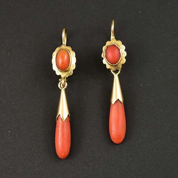 Fine 14K Gold Natural Coral Antique Dangle Earrings