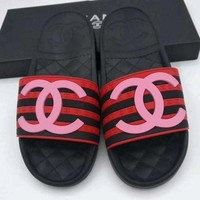 Chanel Fashion Women Stripe Comfortable Casual Flat Slippers Sandals Shoe Black Red(Pink Logo) I