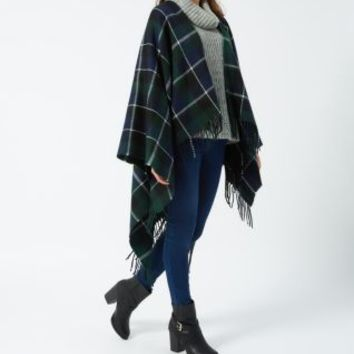 Dark Green Check Blanket Wrap Cape